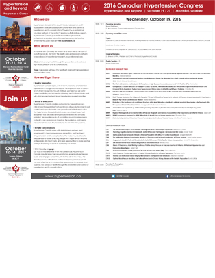 2016 Canadian Hypertension Congress Program